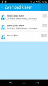 Screenshot Swimalytics zwembad kiezen